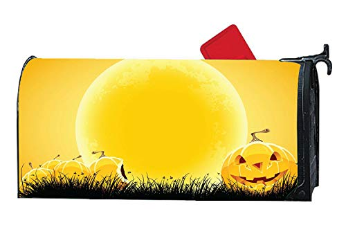 Smiley Pumpkin On The Dark Grass - Big Moon Halloween Night Personalized Mailbox Makover Cover - Vinyl Magnetic Strips ()