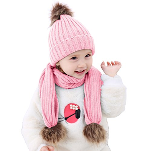 oenbopo 2pcs Baby Winter Hat Scarf Set-Infant Toddler Baby Girls Boys Knit Warm Cap & Scarf Neck Warmers Suit