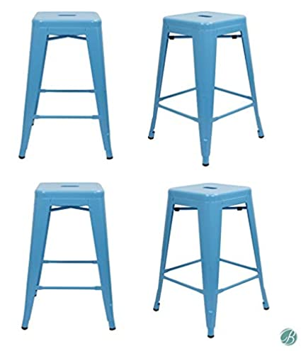 "Set of 4 Milani Metal Bar Stools 24"" Blue Stack-able, Indoor/Outdoor Use,  Kitchen Bar Stools, Patio stools, Industrial, Galvanized Steel Counter ..."