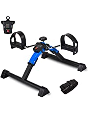 IPKIG Under Desk Pedal Exerciser Bike with Electronic Display for Legs and Arms Workout, Foldable Mini Desk Bike - Leg Physical Therapy Machine Great for Elderly, Seniors