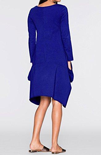 Damen Herbst Winter Reizvolle Langarm Tasche Loose Minikleid Lässig Rundkragen unregelmäßige Blusenkleider Lange Shirt Einfarbig Shirtkleider Jerseykleider, Blau, EU40(XL)