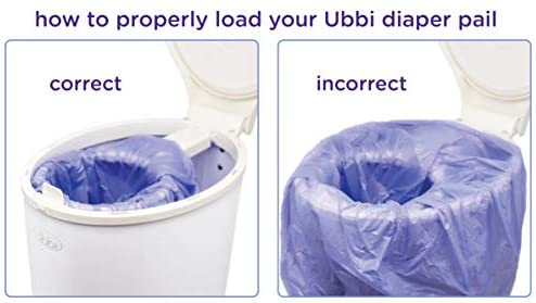 41BV3bu oBL. AC - Ubbi Disposable Diaper Pail Plastic Bags, Made With Recyclable Material, True Value Pack, 75 Count, 13-Gallon