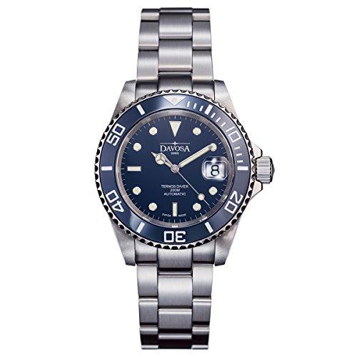 Davosa Swiss Ternos 16155540 Diver Analog Men Wrist Watch Dark Steel Band, Blue