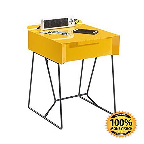 ArtMuseKit Studio RTA Soft Modern End Table, Yellow Saffron