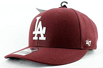 Los Angeles Dodgers Hat MLB Authentic '47 (Forty Seven) Brand Bullpen MVP Slightly Structured Velcroback Baseball Cap Adult Men & Women 85% Acrylic 15% Wool (One Size Fits All, Burgundy)