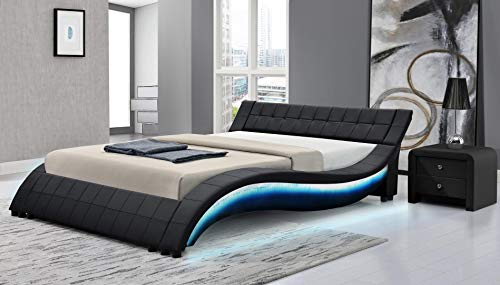 Aurora Collection Platform LED Bed with Accent Multi-Color LED Lights, Low Profile Wavy Design and Eco-Leather Upholstery (Queen, Black)
