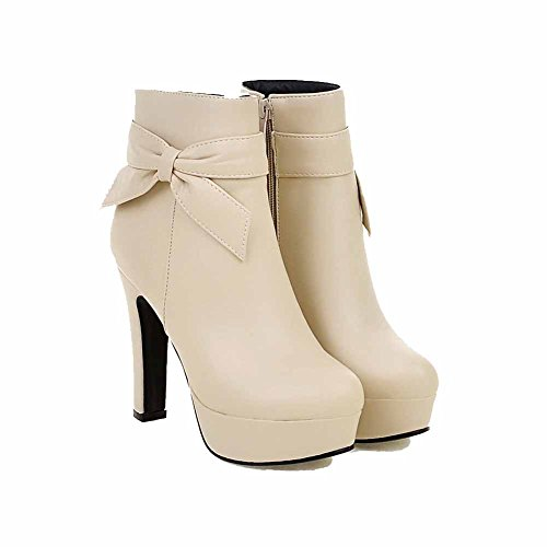 AgooLar Damen Rein Hoher Absatz Rund Zehe PU Reißverschluss Stiefel, Cremefarben, 39