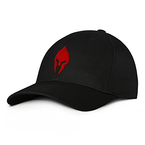 Spartan Warrior Molon Labe Military Baseball Hat Small/Medium Red on Black