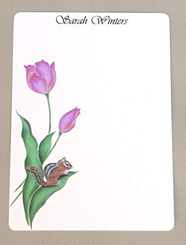 (Chipmunk & Pink Tulips Personalized Girl's Flat Note Card Stationary Set With Envelopes, Women's Custom Monogrammed Stationery Kit, Thank You Notes)
