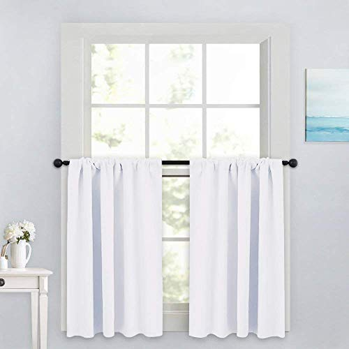 PONY DANCE Window Curtain Valances - Rod Pocket Drapes Set Thermal Insulated Curtain Panels Noise Reducing Window Treatment for Kitchen, 42 W x 36 L inch, Pure White, 2 Pcs ()