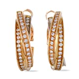 Cartier Trinity 18K Yellow White and Rose Gold Full Diamond Pave Hoop Clip-on Earrings