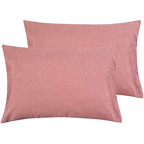 NTBAY Queen Size Pillowcases Set of 2, 100% Stone Washed Cotton, Reduces Allergies and Respiratory Irritation, Vintage Style, Breathable, Red ()