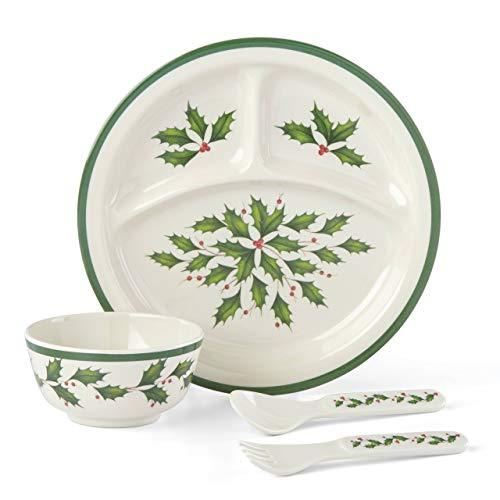 Lenox 885787 Holiday Children's 4-Piece Dinner Set (Kids For Melamine Plates Christmas)