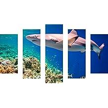MacJac Art 5-Panel PEEL N STICK Sharks Theme Wall Art Photography Prints Large