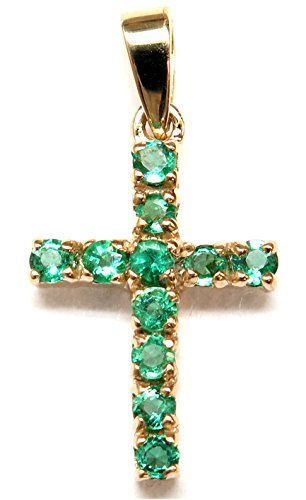 14K Emerald Gold Cross shaped Pendant with AAA quality Emeralds