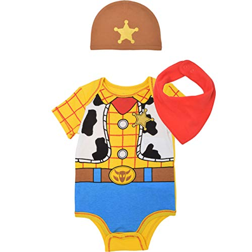 Disney Pixar Toy Story Baby Boys Woody Buzz Lightyear Costume Bodysuit & Cap Set