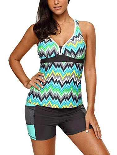 - GDL Women Two-Piece Tankini Swimsuits Multicolor Print V-Neck Short Set Bathing Suits Green-L