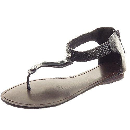 Sopily - Scarpe da Moda sandali alla caviglia donna Gioielli Tacco a blocco 1.2 CM - Nero