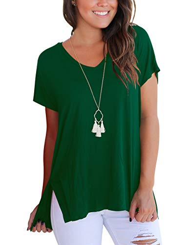 FAVALIVE Womens Summer T-Shirts V Neck Casual Loose Fit St Patricks Day Shirt Women Dark Green ()