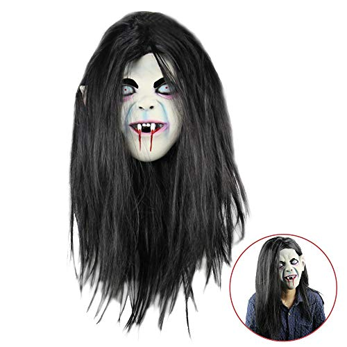 Halloween Ghost Mask Horror Grimace Latex Mask Scary Zombie Emulsion Skin with Hair for Halloween Costume Party Cosplay (Black)