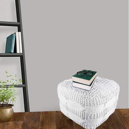 Ajs Living Cotton Hand Knitted Soft Home Decor Pouf White Square