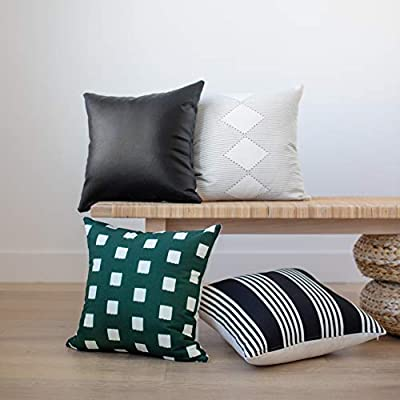 Woven Nook Decorative Throw Pillow Covers ONLY for Couch, Sofa, or Bed Set of 4 18 x 18 inch Modern Quality Design 100% Cotton Hunter Green Black Faux Leather Liam - PILLOW COVERS- This product does not come with inserts to fill them. Customers have different opinions for how they like a pillow to be filled and will need to find inserts separately for proper use. TRENDY DESIGNS - All our products feature trendy designs that are both universal and neutral. We hope our pillow covers can be used in any environment to add a designer touch REASONABLE PRICE - We were tired of paying way too much money for designer pillows which is why we designed these high end pillow covers as a 4-pack at an amazing price. We want everyone to enjoy a beautifully styled room without breaking the bank account - living-room-soft-furnishings, living-room, decorative-pillows - 41BV60saJBL. SS400  -