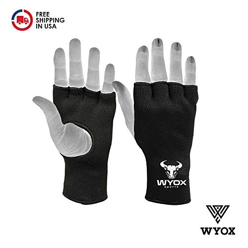 Wyox Boxing Inner Gloves Mitts Hand Wraps MMA Fist Protector Bandages Fingerless (Youth, Black)