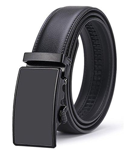 Automatic Belt - ITIEZY Men's Leather Belt Ratchet Automatic Buckle (Sliding Buckle) Belt Man Designer Brown Luxury Strap