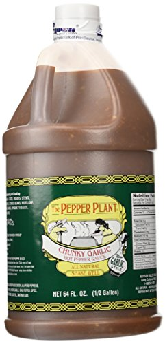The Pepper Plant Chunky Garlic Hot Pepper Sauce 1/2-gallon -