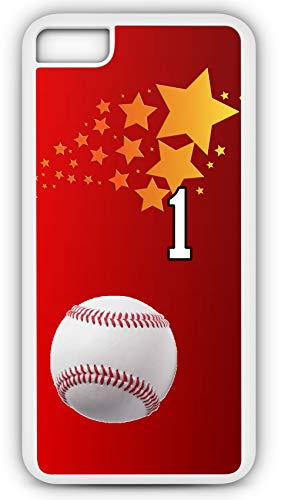 iPhone 7 Plus 7+ Case Baseball Ground Rule Double Customizable by TYD Designs in White Plastic with Team Number 1 (Babe Rules Ruth Baseball)