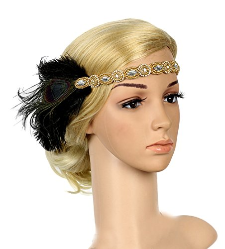 1920s Gatsby Flapper Feather Headband 20s Accessories Roaring 20s Headpiece with Peacock Feather (Black&Gold) ()
