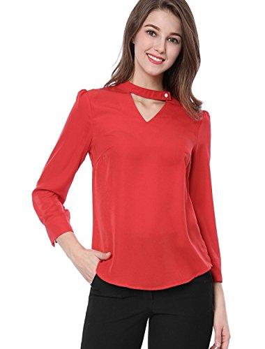 Allegra K Women's Pearl Buttoned Choker V-Neck 3/4 Sleeve Blouses Tops L (Pearl V-neck)