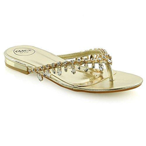 Sandals Holiday Womens (ESSEX GLAM Womens Sparkly Sandals Ladies Toe Post Diamante Holiday Flip Flops (6 B(M) US, Gold Metallic))