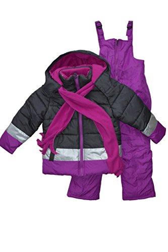 Snowsuits for Kids Girl's 3-Piece Fleece Lined Active Snowsuit (6X, SGREY)