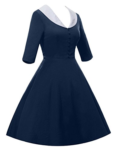 Daroj Femmes 1950 Vintage- 1/2 Manches Bleu Marine Robe Swing Partie V-cou Rockabilly Pinup Bleu