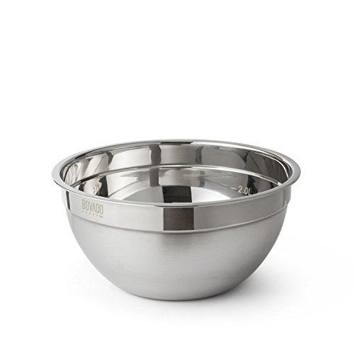 Stainless Steel Mixing Bowl - 3.5qt - Flat Bottom Non Slip Base, Retains Temperature, Dishwasher Safe - By Bovado - Flat Stainless Steel Bowls Bottom