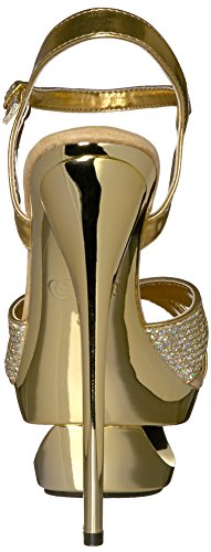 Pleaser ,  Damen Sandalen Gold Multi Gltr/Gold Chrome