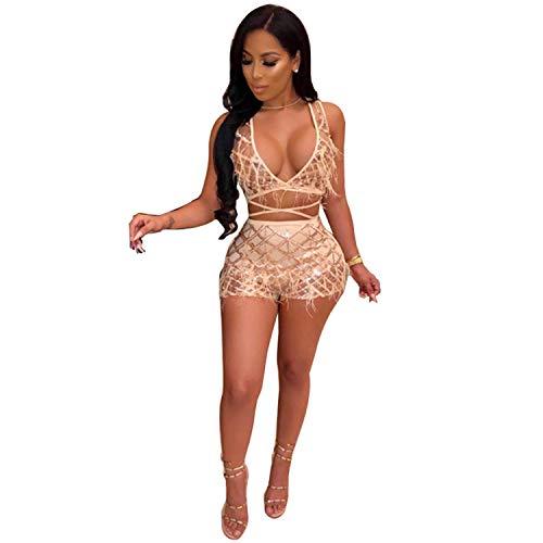 ECHOINE Womens Sparkle 2 Piece Outfits - Sexy Deep V Neck Bandage Jumpsuit Party Clubwear Rose Gold (Women Club Jumpsuits)