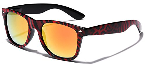 Retro Fashion Jungle Animal Print Sunglasses with Rainbow Mirror Lens 90s Animal
