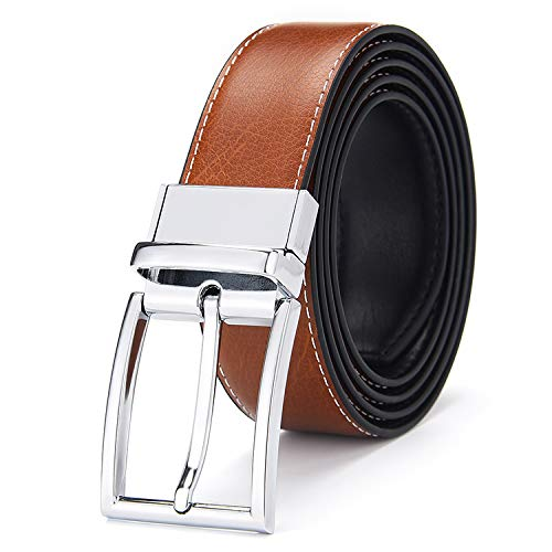 - Men's Reversible Belt Genuine Leather Belts For Men Reversible with Rotated Buckle Gift box packaging 32-42 inches