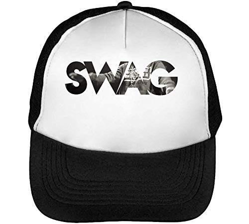 Snapback Swag Beisbol Gorras Blanco Hombre Negro REEwzB