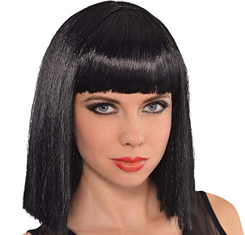 AMSCAN Cleopatra Long Blunt Bob Wig Halloween Costume Accessories, Black, One Size -