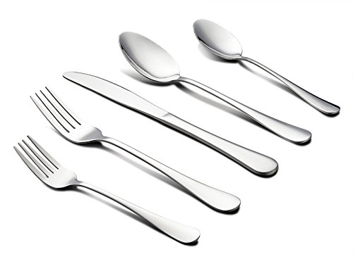 Heavy Salad Fork - 45-Piece Silverware Set with Serving Pieces, LIANYU Flatware Set Service for 8, Stainless Steel Cutlery for Kitchen Hotel Restaurant Wedding Party, Mirror Finish, Dishwasher Safe
