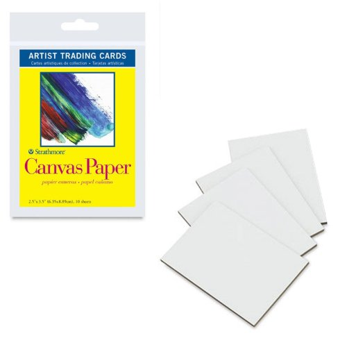 (Strathmore Artist Trading Cards 2 1/2 in. x 3 1/2 in. 300 series Canvas paper Pack 10 cards,White)