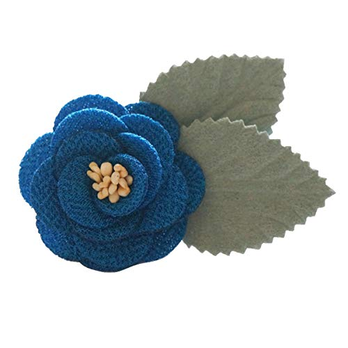 Sunny Home Men's Lapel Flower Handmade Boutonniere Pin for Suit (Blue(Brooch Core Leaf))