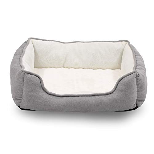 Happycare Textiles Orthopedic rectangle bolster Pet Bed,Dog Bed, Super soft plush, Large 34×24 inches Gray