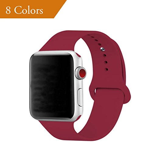 YANCH for Apple Watch Band 38mm, Soft Silicone Sport Band Replacement Wrist Strap for iWatch Nike+,Sport,Edition,S/M,Rose Red
