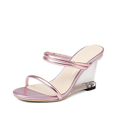 f4a83496f67 Verano NabothT Zapatillas Rosa Zapatillas de Cuero con una Hembra Xia Po  Final del tendón de tacón Sandalias de Cristal