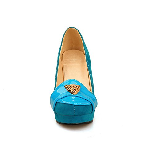 Balamasa Ladies Charms Chunky Tacchi Piattaforma Urethane Pumps Scarpe Blu