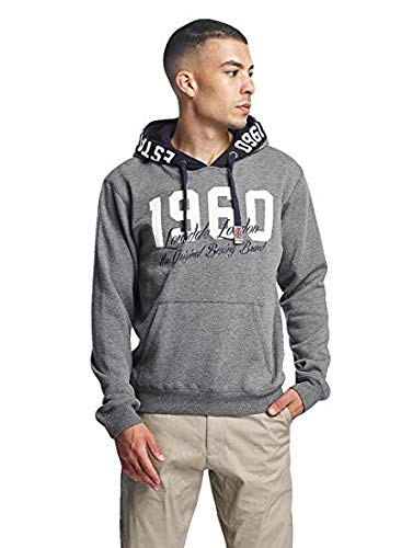 Lonsdale Mens Hooded Sweatshirt Marlow, Slim fit, Ash Grey, Size X-Large